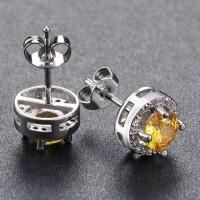 Earrings CZ Yellow