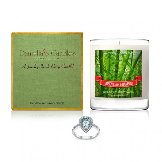 Green Leaf and Bamboo Jewelry Candle