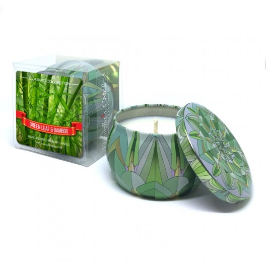 Green Leaf and Bamboo Travel Tin Candle