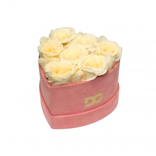 Heart Shaped Pink Suede Box - Preserved Roses