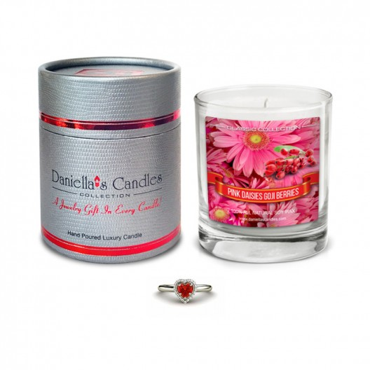 pink daisies goji berries jewelry candle classic