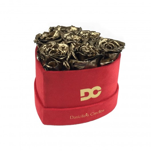 Heart Shaped Red Suede Box - Preserved Roses