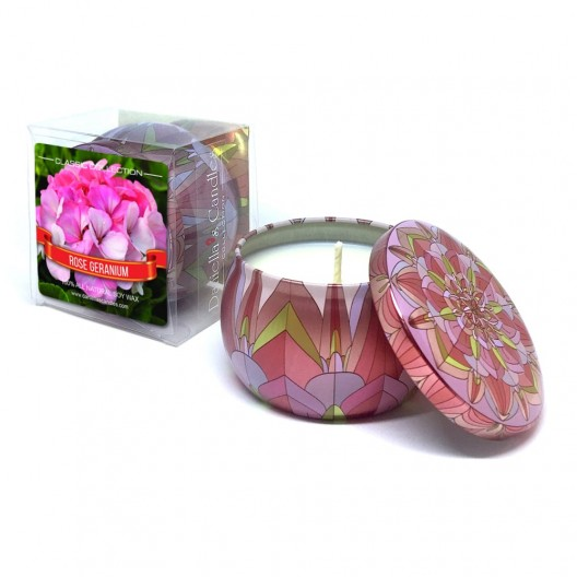 Rose Geranium Travel Tin Candle