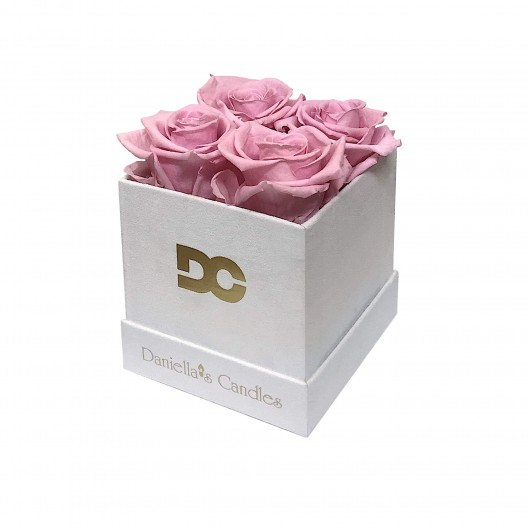 Preserved Pink Roses - Square White Suede Box