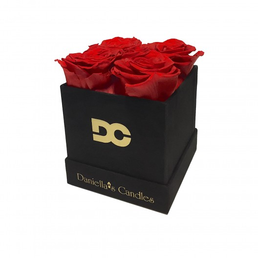 Preserved Red Roses - Square Black Suede Box