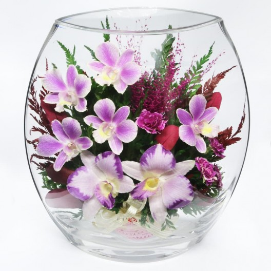 Orchids, Carnations Floral Arrangement In Vase