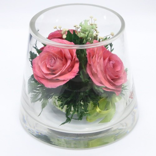 Daniella\u0027s Candles & Pink Roses Floral Arrangement In A Small Vase - Preserved ...