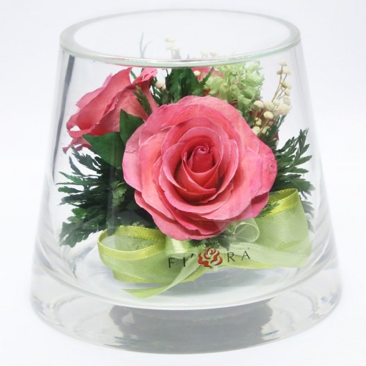 Pink Roses Floral Arrangement In A Small Vase