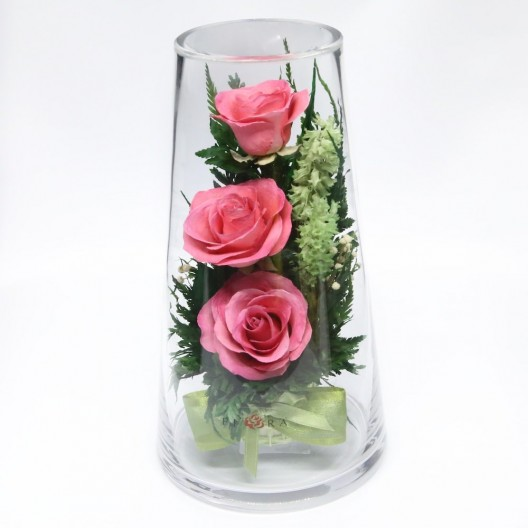 Pink Roses Floral Arrangement In A Medium Vase