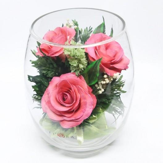 Pink Roses Floral Arrangement In A Tulip-bud Vase