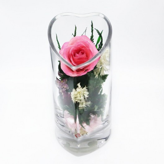 Pink Rose Floral Arrangement In Heart-Shaped Vase