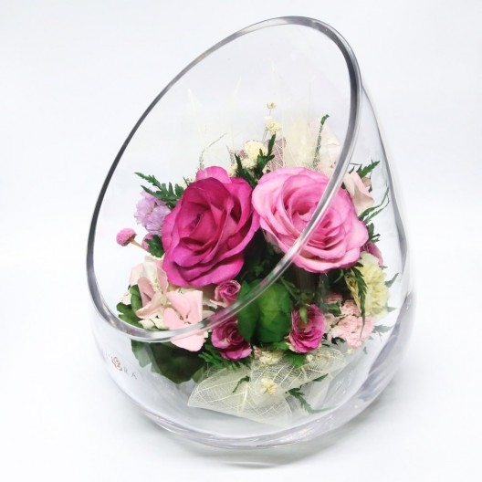 Sweet Roses, Carnations Flowers Arrangement In Vase