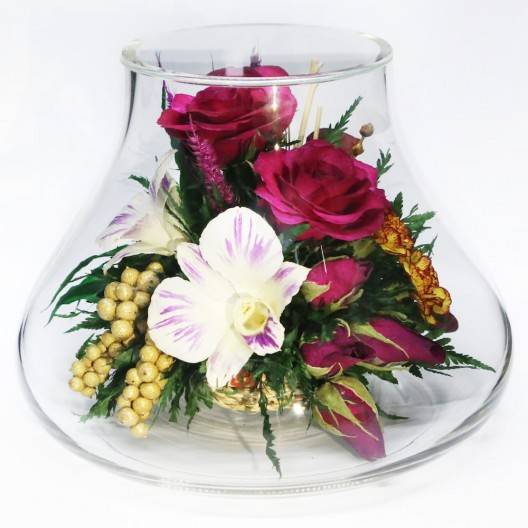 Roses, Orchid, Carnations Flowers Arrangement In Vase